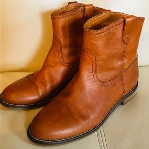 SOLD Madewell Leather Boots Booties Caramel Brown
